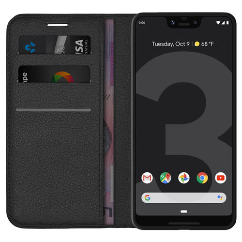 Leather Wallet Case & Card Holder Pouch for Google Pixel 3 XL - Black